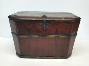 Antique Chinese Wood Rice Barrel Box Chest 19th Century