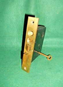 Vtg Nice Used Brass Metal Yale Push Button Working Mortise Lock