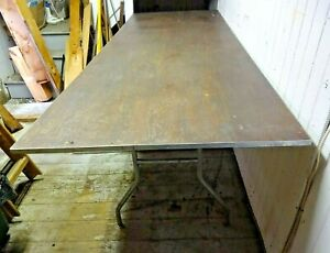 Vintage Wood Metal Table 3 X 8 Long Legs Fold Up Heavy Sturdy Large Phf Co
