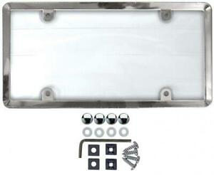 Custom Accessories 90085 Clear Cover License Plate Frame With Chrome Abs