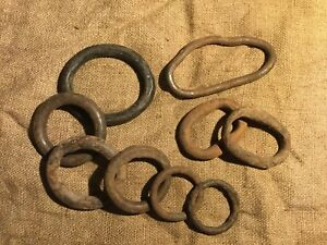 Old Vtg Antique Hand Forged Iron Tack Hitching Ring Farm Hardware Rust Lot Of 9