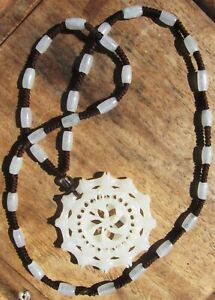 Large Beautiful Vintage Chinese Carved Mutton Fat White Jade Pendant Necklace