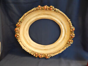 Vtg Frame Oval Fruit Nuts Picture Mirror Frame Victorian Shabby Chic