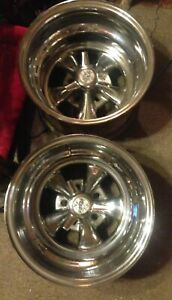 Pair 2 Vintage Rare 15 X 10 Cragar Ss With Tri Bar Spinners Ford Chevy Bolt