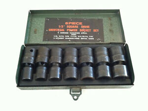 8 Piece 1 2 Drive Univeral Power Socket Set 1 2 7 8 With Box