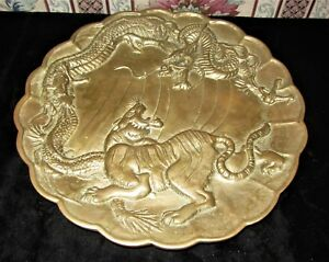 Antique Fighting Tiger And Dragon Heavy Brass Plate W Scalloped Edge