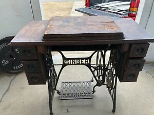 Singer Treadle Sewing Machine And Table Cabinet