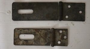 2 Vintage Antique Hinged Hasp Latch Lock Gate Door Barn Hardware