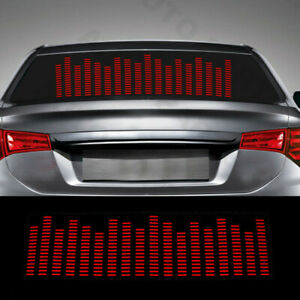 Car Sticker Music Rhythm Led Flash Light Sound Activated Equalizer Red 90cm Kit