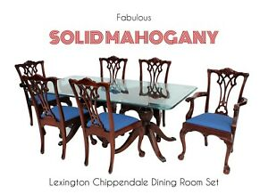 Lexington Chippendale Solid Mahogany Ball Claw Dining Room Set Table 6 Chairs