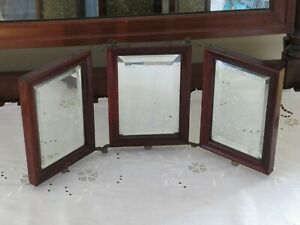 Victorian Tri Fold Travelers Shaving Mirror Antique Tooled Leather Beveled Glass
