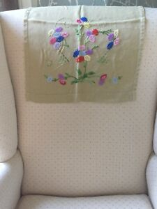 Vintage Embroidered Chair Back Shabby Chic 16