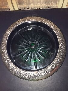 Bar Wine Champagne Coaster Whiting Repousse Sterling Silver Green Glass Antique