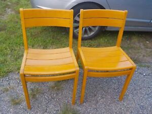 W H Gunlocke Mid Century Modern Office Library Chair Pair Solid Wood Vintage