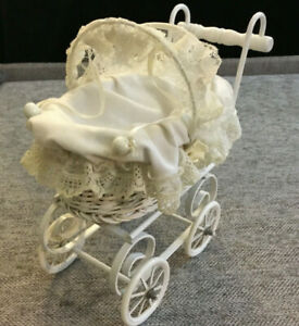 Vintage Baby Doll Carriage White Wicker Lace