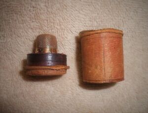 1800s Victorian Simmons 14k Gold Thimble In Leather Case