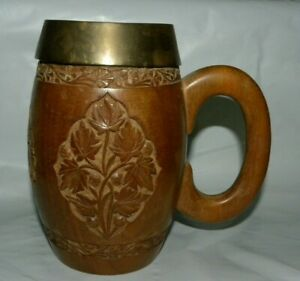 Vintage Hand Carved Floral Design Wooden Tankard W Removable Liner