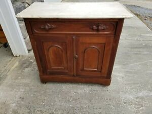 Vintage Victorian Walnut Washstand With Marble Top