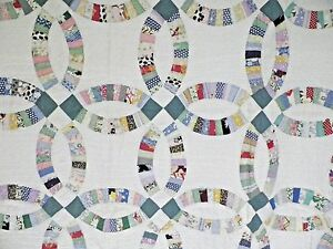 Antique 1920s 30s Wedding Ring Quilt Nice Nr