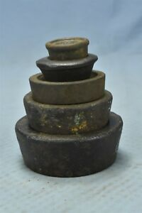 Antique Set Of 5 Stackable Cast Iron Nest Scale Weights Mercantile Trades 06490