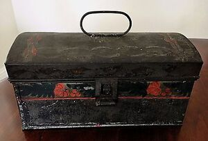 Tin Tole Toleware Document Dome Box W Handle Hand Painted Early Antique