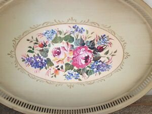 Tole Toleware Tin Tray Antique Ivory Roses Flowers Large Oval Reticulated Edge