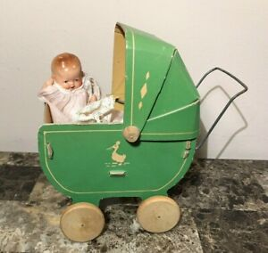 Vintage Toy Antique Doll Baby Buggy Pram Carriage Wood Wheels Ducks Circa 30s
