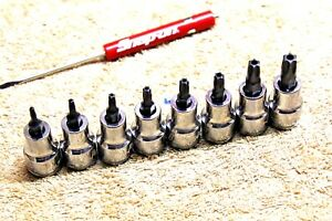 New Blue Point 8pc Socket Torx Set T10 T45 Snap On Mini Screwdriver New