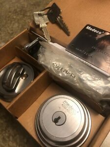 Medeco Assa Abloy Maxum Deadbolt High Security Satin Nickel 2 Keys W Card