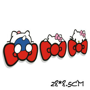 Hello Kitty Cat Playing Body Car Sticker Decals Red Bows Qp193