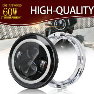 7 Inch Motorcycle Projector Led Headlight Lo hi Beam Drl W White Mount Bracket