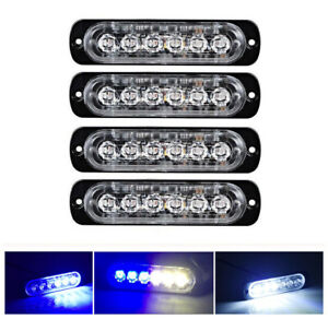 4pcs Blue White 6 Led Light Flash Emergency Car Vehicle Warning Strobe Flashing