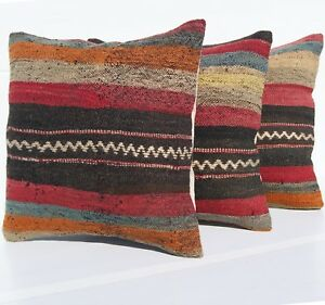 Turkish Kilim Rug Pillow Covers 16 Square Wool Hand Woven Rome Decor Area Rugs
