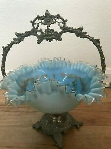 Ornate Antique Light Blue Glass Bride S Brides Fluted Bowl In Footed Stand