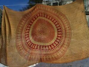 Early Antique Red Medallion Cotton Textile Cover For Bed Or Table 64