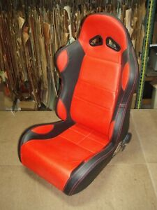 Sport Seat Black With Red Center Bolster Inserts Stitching Fits Any Car