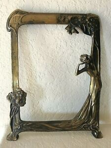 Antique Art Nouveau 3d Woman In Floral Garden Brass Bronze Mirror Frame