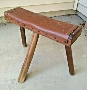 Vintage Primitive Farm Milking Handmade Wooden Foot Stool Signed Dated