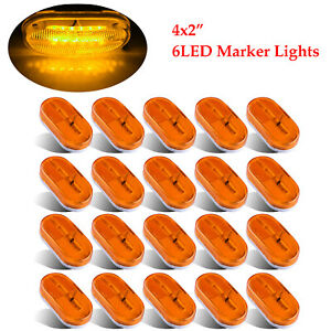 20x 4 Amber Oval 6 Diode Side Marker Light Clearance Led Lamp Trailer Truck