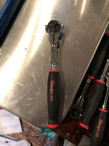 Snap On New 1 4 Drive Red Soft Grip Round Swivel Head Ratchet Thnf72