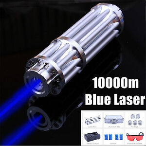 Burning Adjustable Focus Blue Laser Pointer Military Visible Beam Zoom 450nm 1mw