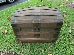 Antique Hump Back Tin Covered Steamer Trunk Dome Top Chest Storage Pirate
