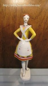 Hollohaza Figurine Hungary 8029 Lady With Yellow Dress Dancer From Bujak 9 5 8