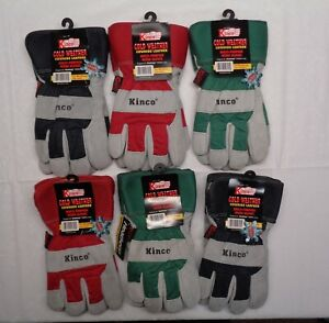 6 Pk New Kinco Cold Weather Cowhide Work Pw1932 Gloves Size Medium Thermal Lined