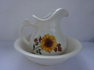 Vintage Mccoy Pottery Fall Sunflower Floral Pitcher And Wash Basin Bowl Set 7515