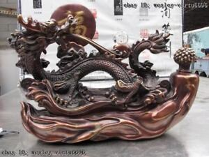 Chinese Royal Palace Red Bronze Copper Lucky Dragon Ginseng Panax Ruyi Statue