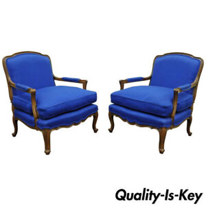Pair Baker Furniture Provincial French Country Louis Xv Blue Bergere Arm Chairs
