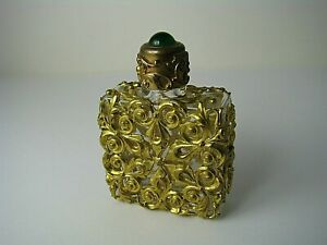 Chinese Export Ormolu Brass Glass Perfume Bottle Scent Flask Green Quartz C1900s