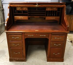 Antique High Quality Walnut Mahogany Roll Top Desk W Filling Cabinet Drawers