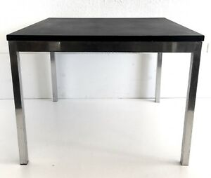 Mcm Side End Coffee Table Steel Chrome Slate Granite Stone Vtg Mid Century
